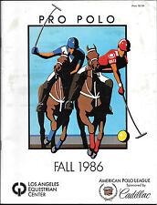 Los Angeles Polo Club Program 1986. Pro Polo. LA Equestrian Center. Rare.