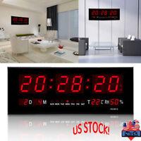 Large Digital Jumbo LED Wall Desk Alarm Clock Display Calendar Temperature US