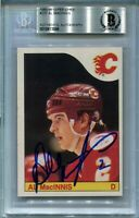 FLAMES AL MacINNIS signed autographed 1985-86 OPC ROOKIE CARD RC BECKETT (BAS)