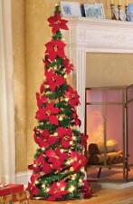 "Easy Pull Up Christmas Tree with Lovely Red Poinsettias 52"" Tall"