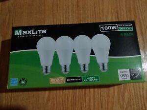 4-Pack MaxLite 100 Watt LED light bulbs -- 2700K 15 Watt 1600 lumens Dimmable