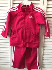 Euc Adidas Hot Pink(Fuchsia) & White Track Warm Up Suit Size 12 Months
