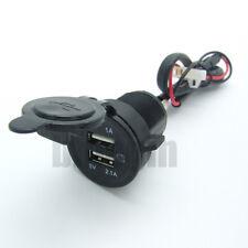 Prise Allume Cigare Chargeur Adaptateur Double USB Étanche 5V 2.1A/1A pour Moto