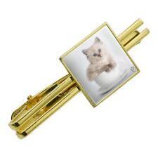 Ragdoll Tiffany Cat Kitten Tea Cup Ride Square Tie Bar Clip Clasp Silver or Gold