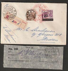 Indonesia Interim Sumatra MEDAN R cover with proof of postage Scarce
