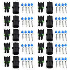 10x Weather Pack 2 Pin Sealed Waterproof Electrical Wire Connector Kit 16-14 GA