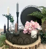 Rustic Round Iron Metal Tray Vintage Style Tea Light Candle Plate Heart Edge