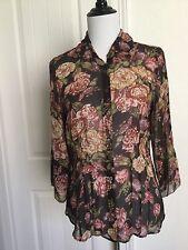 CAbi Silk Blouse M  Sheer Brown Floral 3/4 Sleeves Medium Style 400