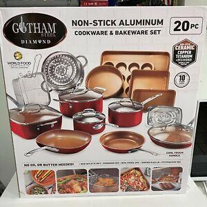 Gotham Steel 20 Piece Nonstick Cookware & Bakeware Set - Red