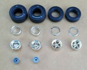 AMT 1/25 1976 CHEVY VEGA FUNNY CAR WHEELS, FRONT TIRES AND LETTERED SLICKS
