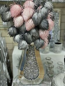 Crushed Diamond Crystal Filled Vase With Silver Foam Dangling Pom Pom Pink Grey