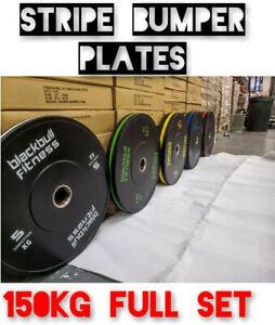 "BlackBull Fitness® Stripe Rubber Bumper Weight Plates  Grade GYM CROSSFIT 2"""