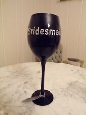 New Black Bridesmaid Wine Glass
