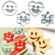 4PC Stainless Steel Smile Face Cookies Cutters Biscuit Pastry Cake Fondant Mould