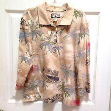 Caribbean Joe Ladies Large 3/4 Sleeve Top Polo Beige Shirt Tropical