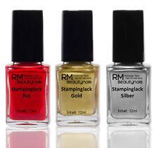 3x12ml Stamping Lack Set Rot Gold Silber für Konad Stempellack Nagellack X-Mas
