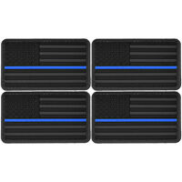 4x US Flag Blue Line Police PVC Morale Patch 3D Tactical Badge Hook #51