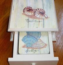 "Wooden Boxed Set Of 4 Seashell Motif,Cork Back, 4 1/8"" Sq. Coasters, U.S.A. Made"