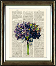 Antique Book page Art Print - Violets Bouquet Digital Collage Upcyled