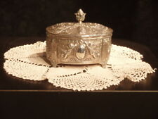 BEAUTIFUL ANTIQUE SILVER REPOUSSE' FOOTED WEDDING BOX