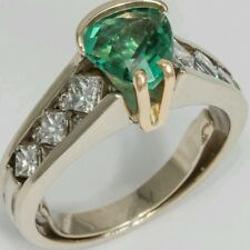 14k Green Tourmaline Diamond Ring. 1.0ct Diamonds 2.46 TCW.