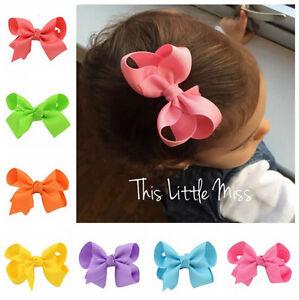 20X Handmade Bow Hair Clip Alligator Clips Girls Ribbon Kids Sides Accessories A