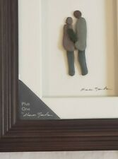 """Sharon Nowlan """"Plus One"""" NWT, Couple and Baby Stone Art Framed Matted Wall Art"""