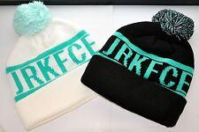 COMBO: 2 BRAND NEW JRKFCE JERKFACE KNIT POM BEANIES BEANIE MINT TEAL BLACK HAT