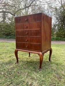 Vintage Antique Drawers Lp Record Storage Cupboard  Cabinet Queen Anne  Bedside