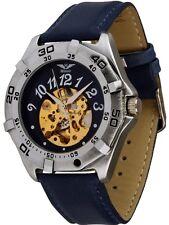 Minoir Uhren - Modell Ambert blau - Automatikuhr Herren-Skelettuhr
