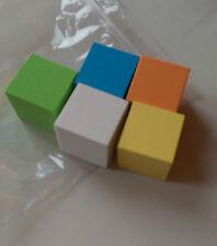 Blank dice  (5 foam dice 30mm cubes in yellow, orange, blue, white & green)