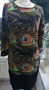 Indulgence London 3/4 sleeve Peacock Feather print dress size M/L VGC (10/12)