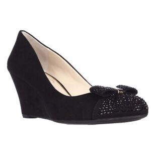 Jessica Simpson Sammi Black Wedge MicroSuede Bow Heels Size 7.5