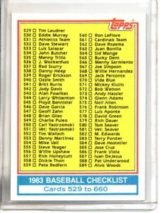 1983 TOPPS CHECKLIST 529-660 (NM/MT OR BETTER) //
