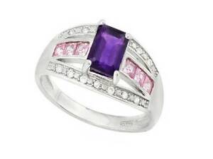 2 TW Carat Amethyst & Created Pink Sapphire 925 Silver Ring Sz 6.75 Lovely Band