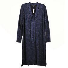 Lane Bryant Womens Sweater Dress 22/24 Metallic Sparkle Blue Tie Neck Career New