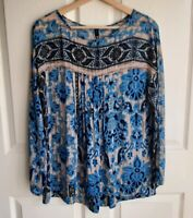 Plenty By Tracy Reese Womens Sheer Blue Beige Pleat Blouse Top Shirt Size Small