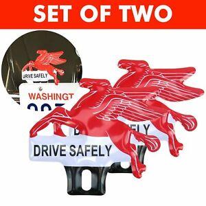 2 Retro Mobil Oil Horse Pegasus License Plate Topper for Hot Rod Street Truck pr