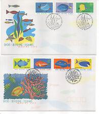 COCOS (KEELING) ISLANDS FDC 1995-2001 MARINE LIFE SET SG332/343a
