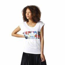 Adidas Originals Enrollada Camiseta Mujer Blanco Multicolor Logo Informal