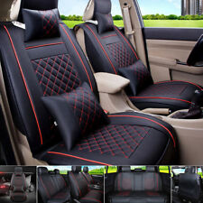 Comfortable PU Leather Car Seat Cover Set With Pillows Black&Red