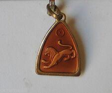 ANCIEN BIJOU VINTAGE PENDENTIF LION laiton doré émaillé #B149