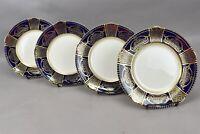 Soho Pottery Ambassador Ware Salad Plates Gold Scrolls Flowers Cobalt Trim 4pc