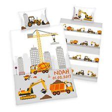 Wolimbo Bettwäsche mit Namen für Kinder Motiv Baustelle gelb 100x135cm 40x60cm