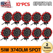 10X 7inch 51W Spot LED Work Light Round SUV ATV 4WD Truck Lamp Off-Road Red Pods