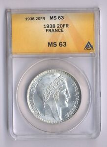 FRANCE  1938  20 FRANCS SILVER COIN, CHOICE UNCIRCULATED, ANACS CERTIFIED MS-63
