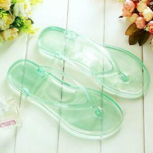 Womens Flip Flops Transparent Slingback Flats Mules Slippers Shoes Clear Ladies