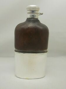 REFURBISHED ANTIQUE SILVER PLATE AND LEATHER  HIP FLASK
