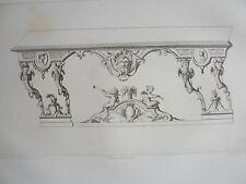 Détails motifs ANGES TROMPETTES LOUIS XIV décoration GRAVURE ADAMS MEUBLE XIXéme