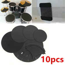 10 Mute Silencer Drumming Rubber Practice Pad Bass Snare Drum Sound Off / Quiet